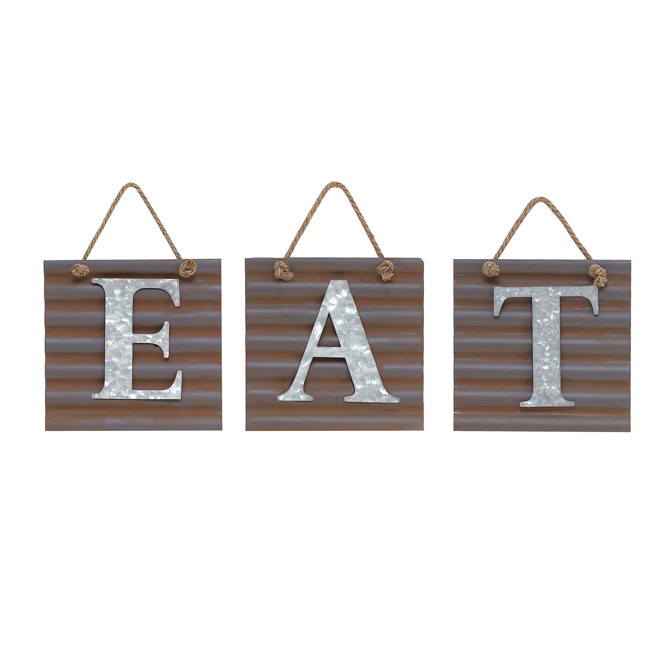 Barnyard Designs Eat Galvanized Metal Letter Tile Wall Sign, Primitive Country Rustic Kitchen Farmhouse Home Decor Sign 28'' x 10''