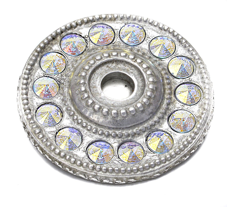 Carpe Diem Hardware 883-24AB Cache Round Escutcheon Made with Swarovski Crystals, Large, Platinum