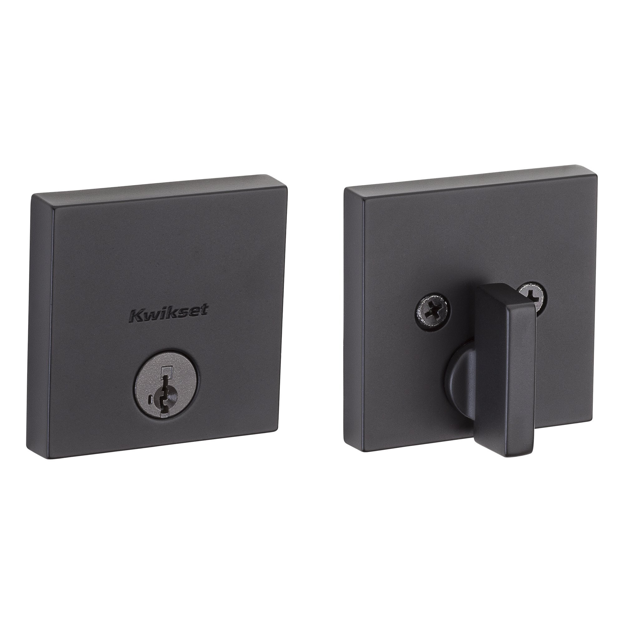 Kwikset 258 Downtown Low Profile Square Contemporary Deadbolt featuring SmartKey in Iron Black