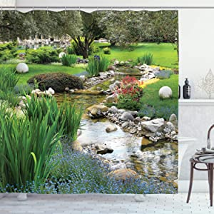 """Ambesonne Garden Shower Curtain, Garden Pond in Style with Flowing Stream and Wild Flowers Bushes Stones, Cloth Fabric Bathroom Decor Set with Hooks, 70"""" Long, Ivory Green"""