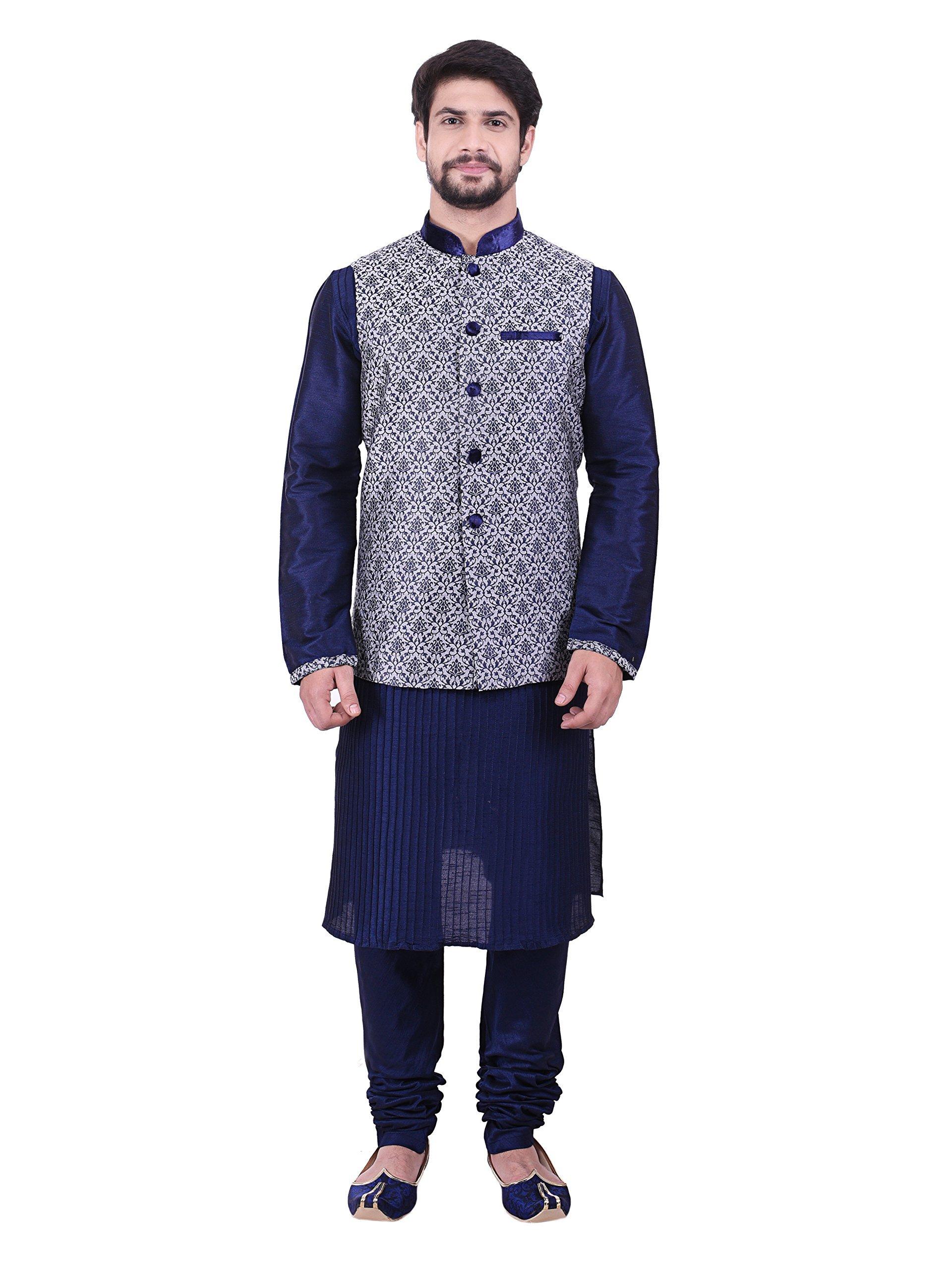 Manyavar Men's Kurta Pyjama And Jacket Set Medium Grey by Manyavar