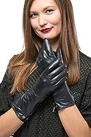 Long Sleeve Leather Zipper Gloves For Women, Touchscreen Cold Weather Long Sleeve Gloves - With Thinsulate Liner