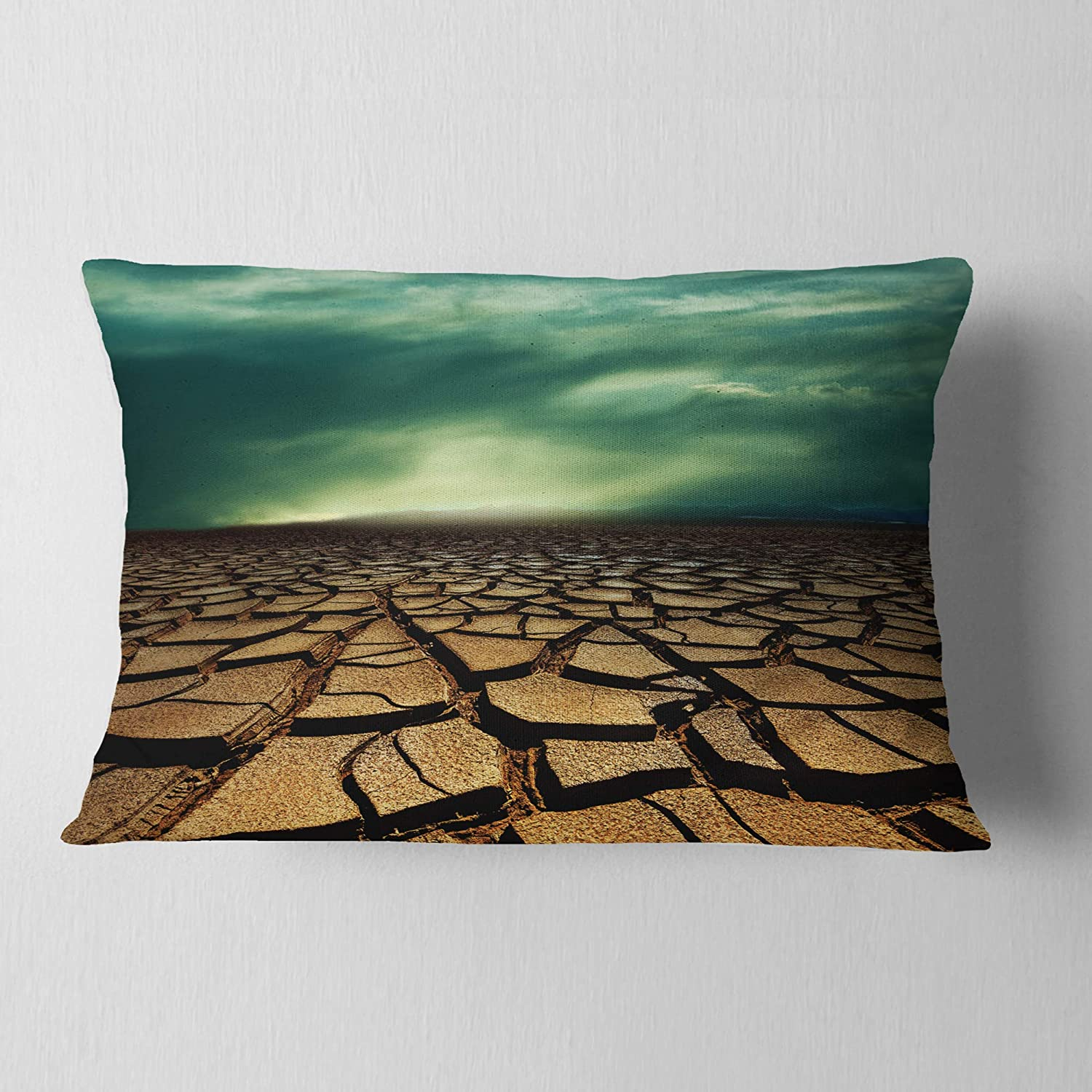 In Designart Cu12790 12 20 Drought Land Under Dramatic Blue Sky African Landscape Printed Lumbar Cushion Cover For Living Room X 20 In Sofa Throw Pillow 12 In