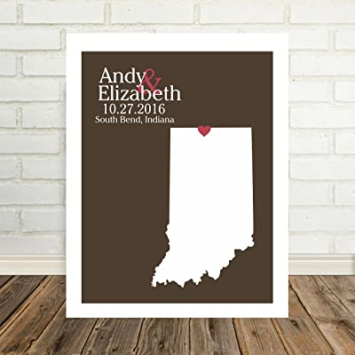 Indiana State Map Personalized Indiana Print Personalized Indiana Map Custom Wedding Map Any Location Available Worldwide Personalized Map Art