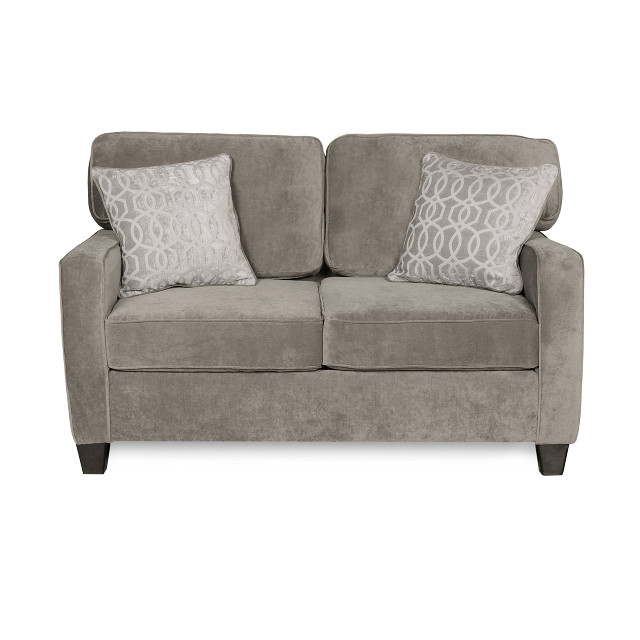 """Fusion Platinum Living Room Love Seat Sofa with Accent Throw Pillows   Contemporary Casual Design, Size of 65.5""""x36""""x37"""" Assembled"""