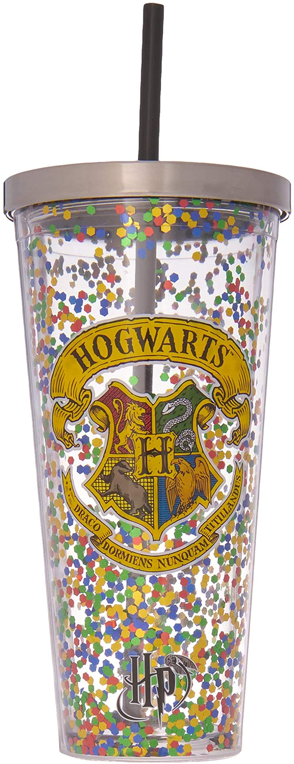 Spoontiques - Harry Potter Tumbler - Hogwarts Glitter Cup with Straw - 20 oz - Multicolored
