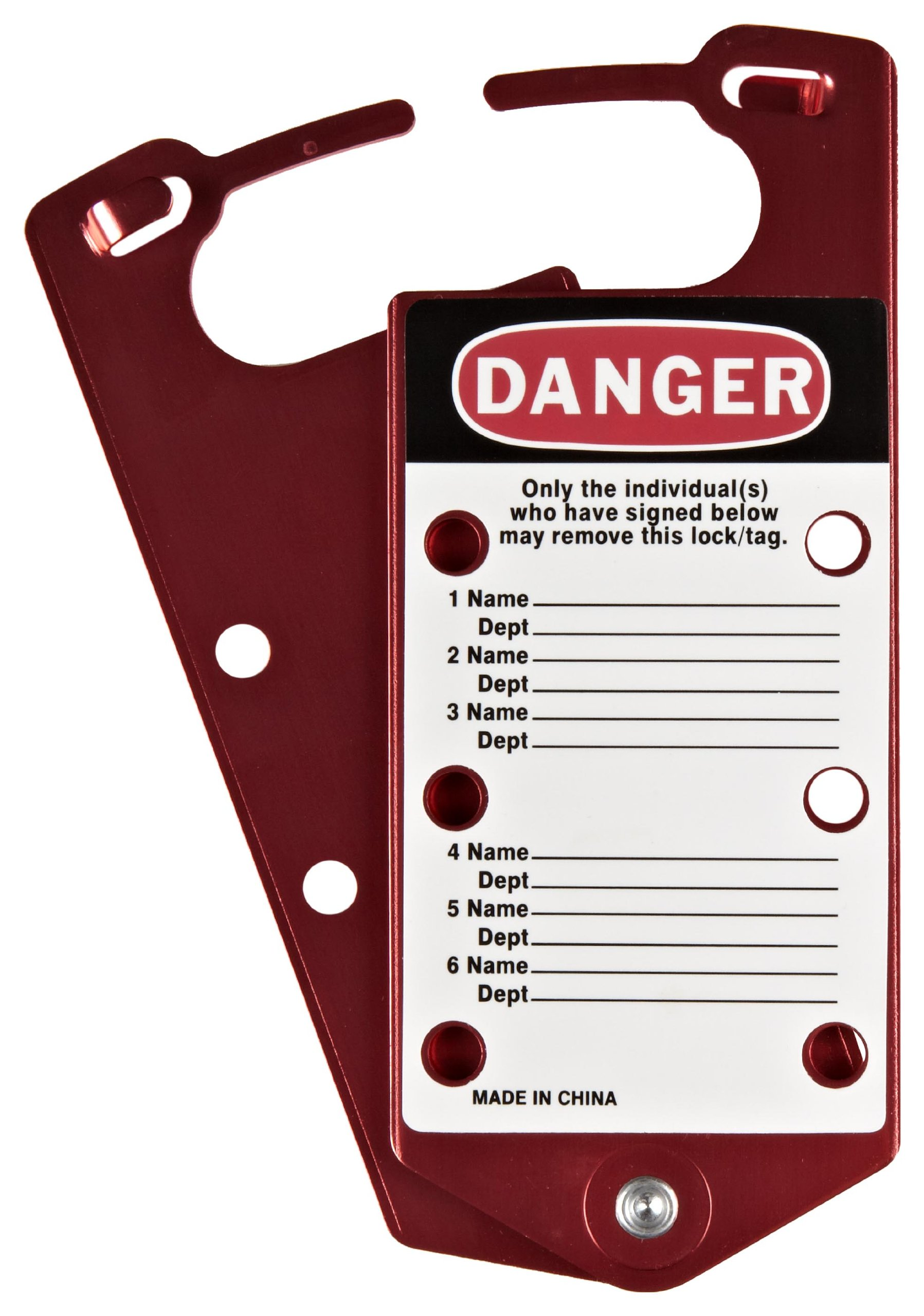 Brady Anodized Aluminum Labeled Lockout Hasp, Red (Pack of 5)