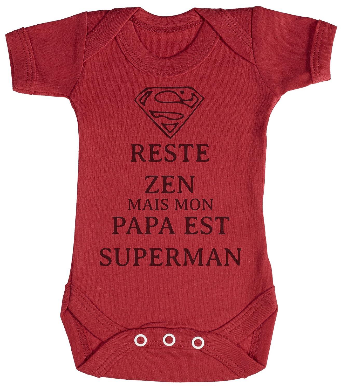 TRS - Reste Zen Papa est Superman Body bébé 100% Coton FRUNI-RZ13