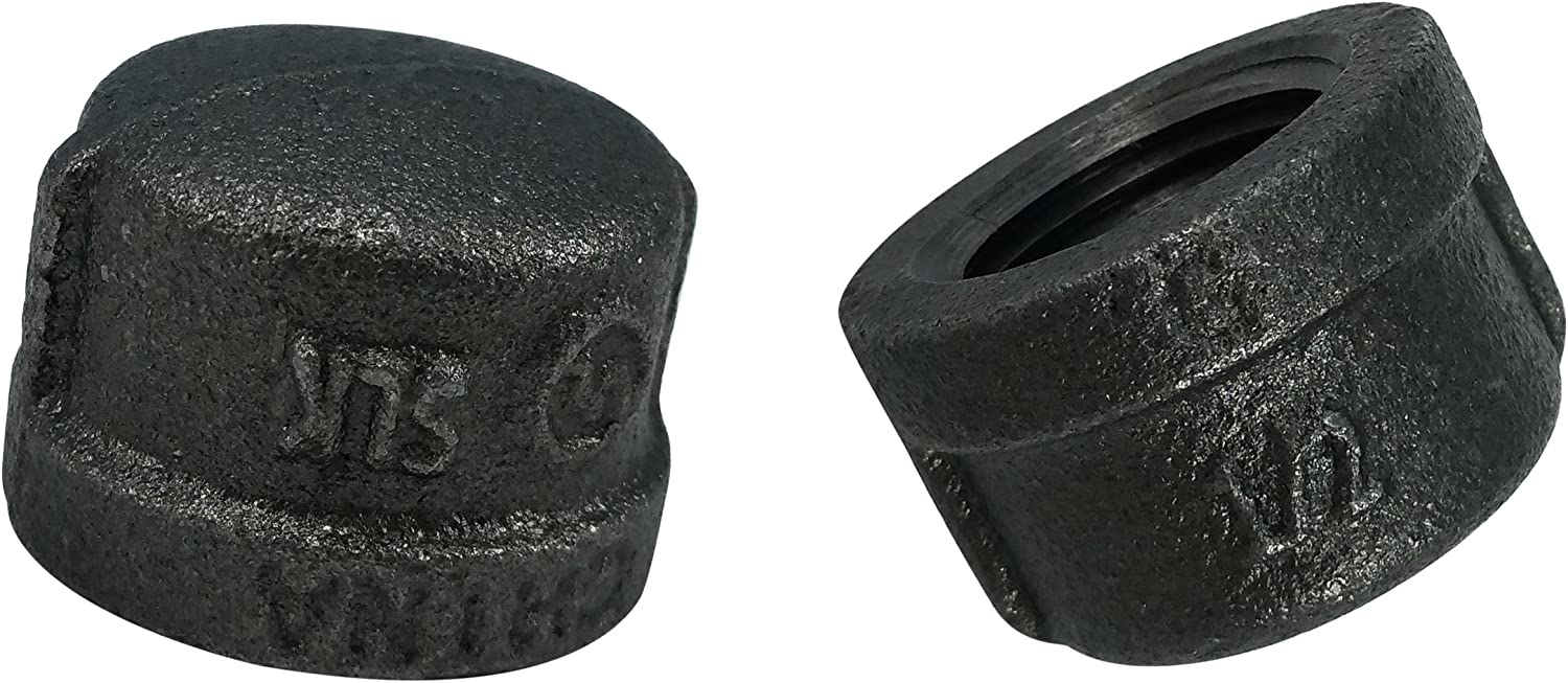 LDR Pipe Décor Industrial Steel Grey 1/2-Inch Pipe Cap Fittings (2-Pack)
