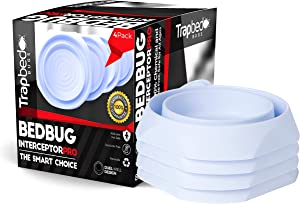 K9King Bed Bug Interceptors - Bedbug Traps and Detectors for Bed 4 Pack - Bugs Detector Trap System for Beds - Climb Up Prevention Interceptor Cups - No Pesticides, Chemicals Or Powder – White