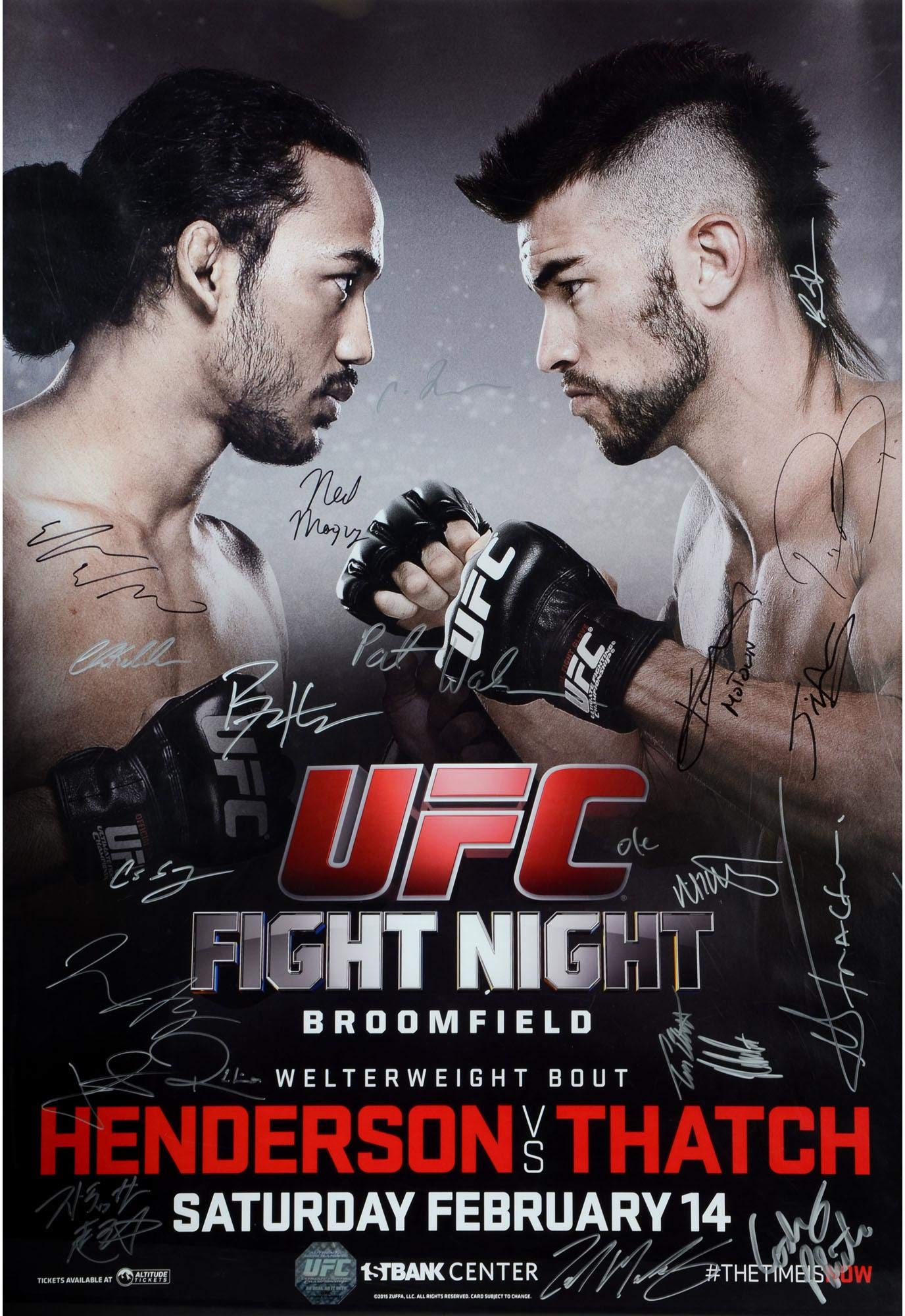"""UFC Fight Night 60 Henderson vs. Thatch Autographed 27"""" x 39"""" 20 Signature Event Poster Fanatics Authentic Certified"""