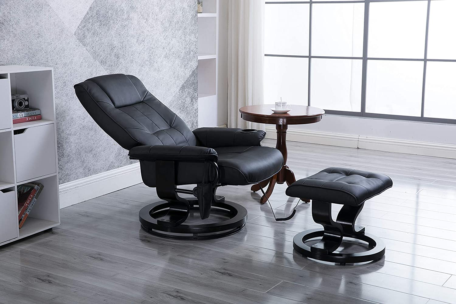 windaze Massage Leather Recliner Ottoman Living Room Chair Set 8-Vibration Motors Heat with Swiveling Mahogany Wood Base and Cup Holder Black