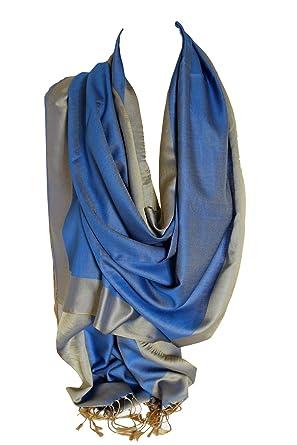 Bullahshah Double soie réversible bicolore Wrap Echarpe étole châle Hijab  tête foulards (Bleu   Beige 4b2168a3ac9