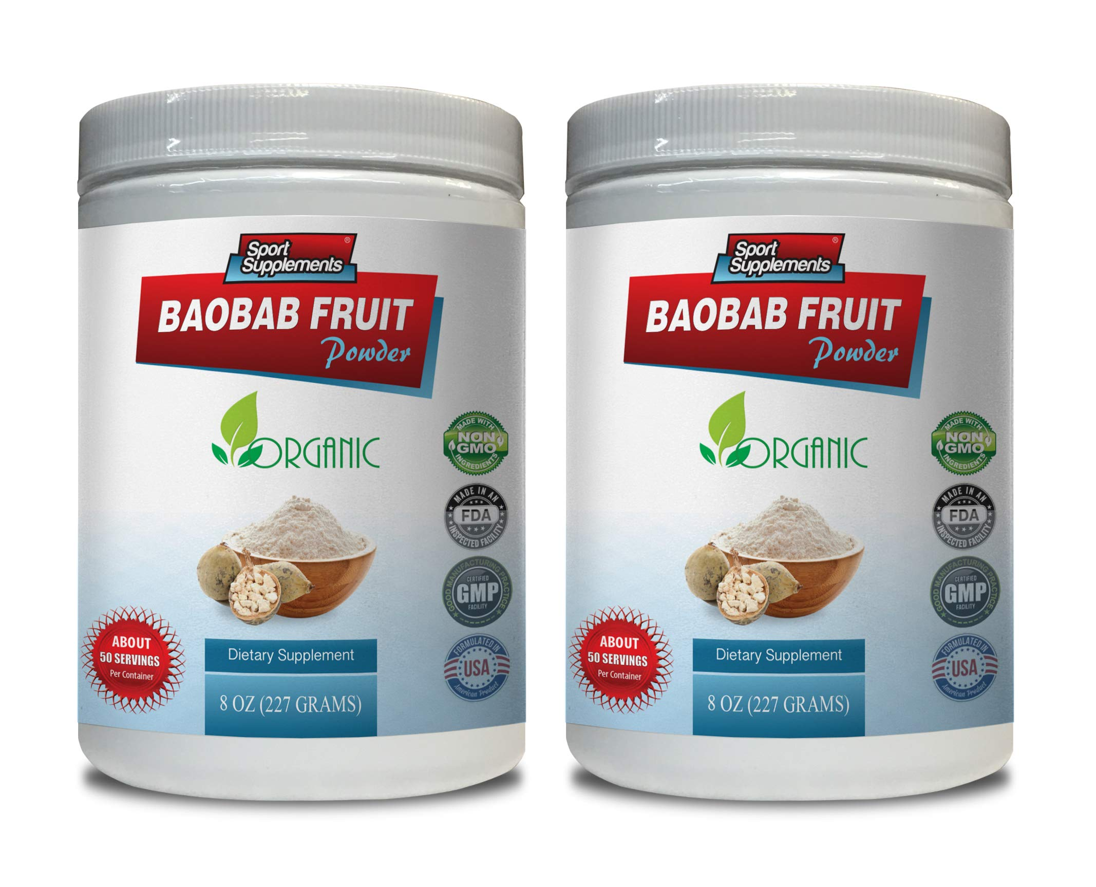 Immune System Supplement - Baobab Fruit Powder - Organic Dietary Supplement - Digestive aid Complex - 2 Cans 16 OZ (100 Servings)