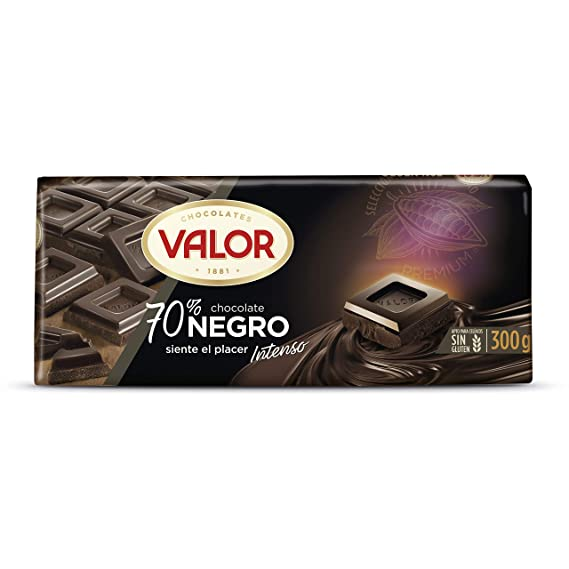 Chocolates Valor - Chocolate negro de 70% cacao - 300 g - [pack de