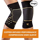 CopperJoint – Copper-Infused Performance Compression Knee Sleeve, Promotes Increased Blood Flow to The Knee and Provides Enhanced Compression and Support for Athletes, Single Sleeve