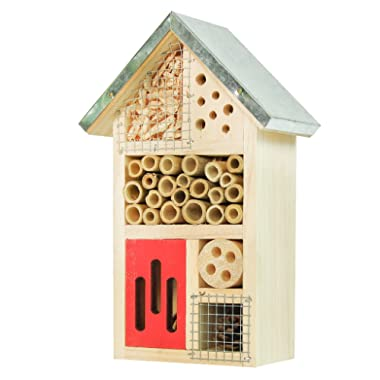 Niteangel Wooden Insect House, Perfect Home for Ladybirds and Lacewings, as Well as Bees, Size 10 x 6 x 3.4 inch (Red)