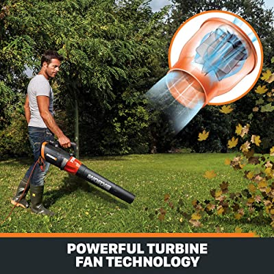 WORX WG520 Turbine 600 Electric Leaf Blower, Black