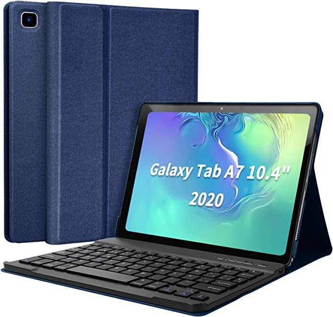 Funda con Teclado Samsung Tab A7 10.4 2020, Español Ñ Teclado Wireless Bluetooth Magnético para Galaxy SM Tab A7 2020 T500 T505 T507, Cubierta ...