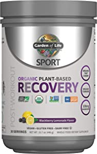 Garden of Life Sport Organic Post Workout Recovery Drink Antioxidant Supplement, Vegan, BlackBerry Lemonade, 15.7oz (446g) Powder *Packaging May Vary*
