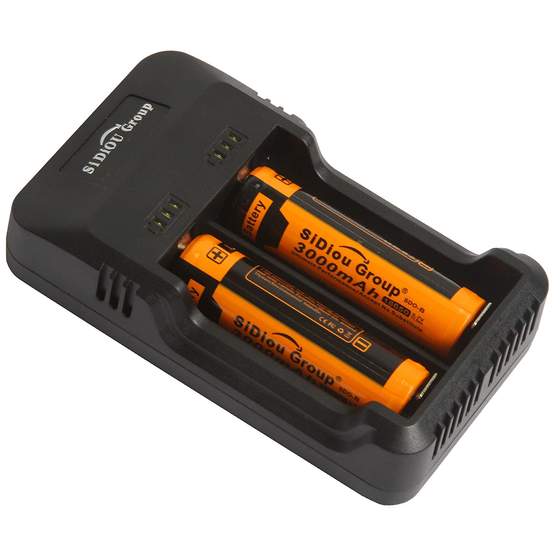 Sidiou Group universale USB multifunzionale doppio intaglio caricatore intelligente intelligente caricabatteria per 18650 26650 Li-ion / batteria Ni-MH (non incluse batterie) Trustfire TR-006