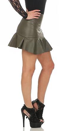 11044 Fashion4Young Damen Rock Minirock Rock Lederimitat Skirt Volantrock  Damenrock  Amazon.de  Bekleidung daae4e41fb