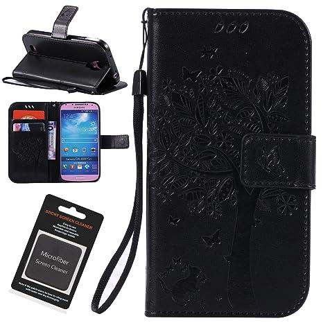 Inge Funda Samsung Galaxy S4, Carcasa Libro PU Premium Leather Cuero impresión - Flip Case Cover con TPU Goma Flexible,Cierre Magnético,Función de ...
