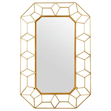 Stone & Beam Diamond Shape Metal Frame Hanging Decorative Wall Mirror, 34.25 Inch Height, Gold Finish