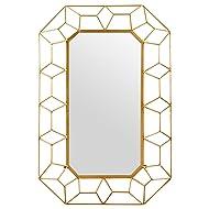 "Stone & Beam Diamond Shape Metal Frame Mirror, 34.25""H, Gold Finish"
