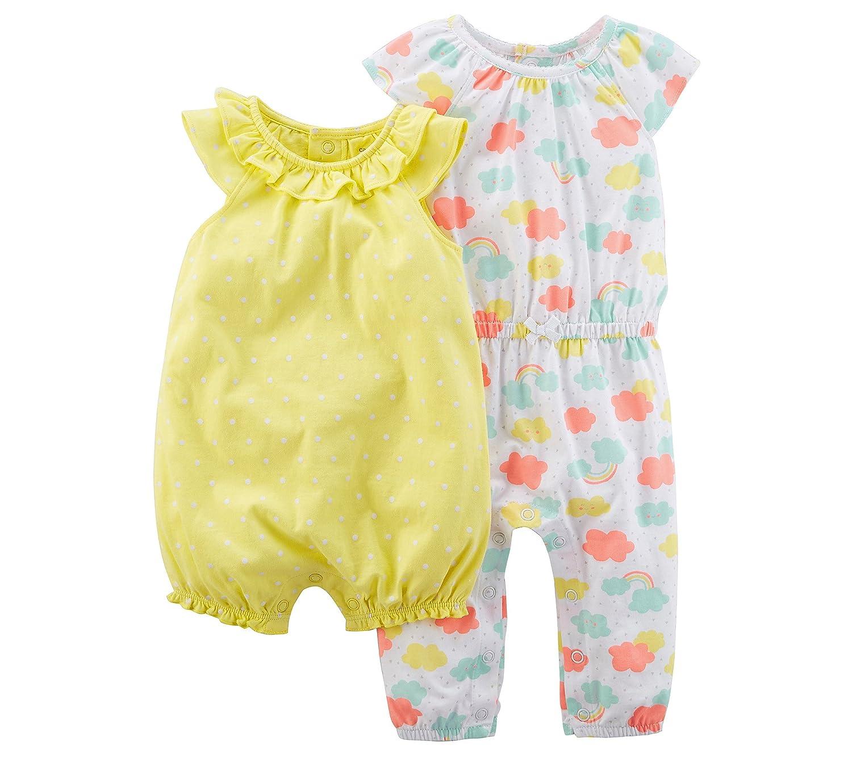 20c227425 Amazon.com  Carter s Baby Girls  0M-9M 2 Pack Romper Jumsuit Set ...