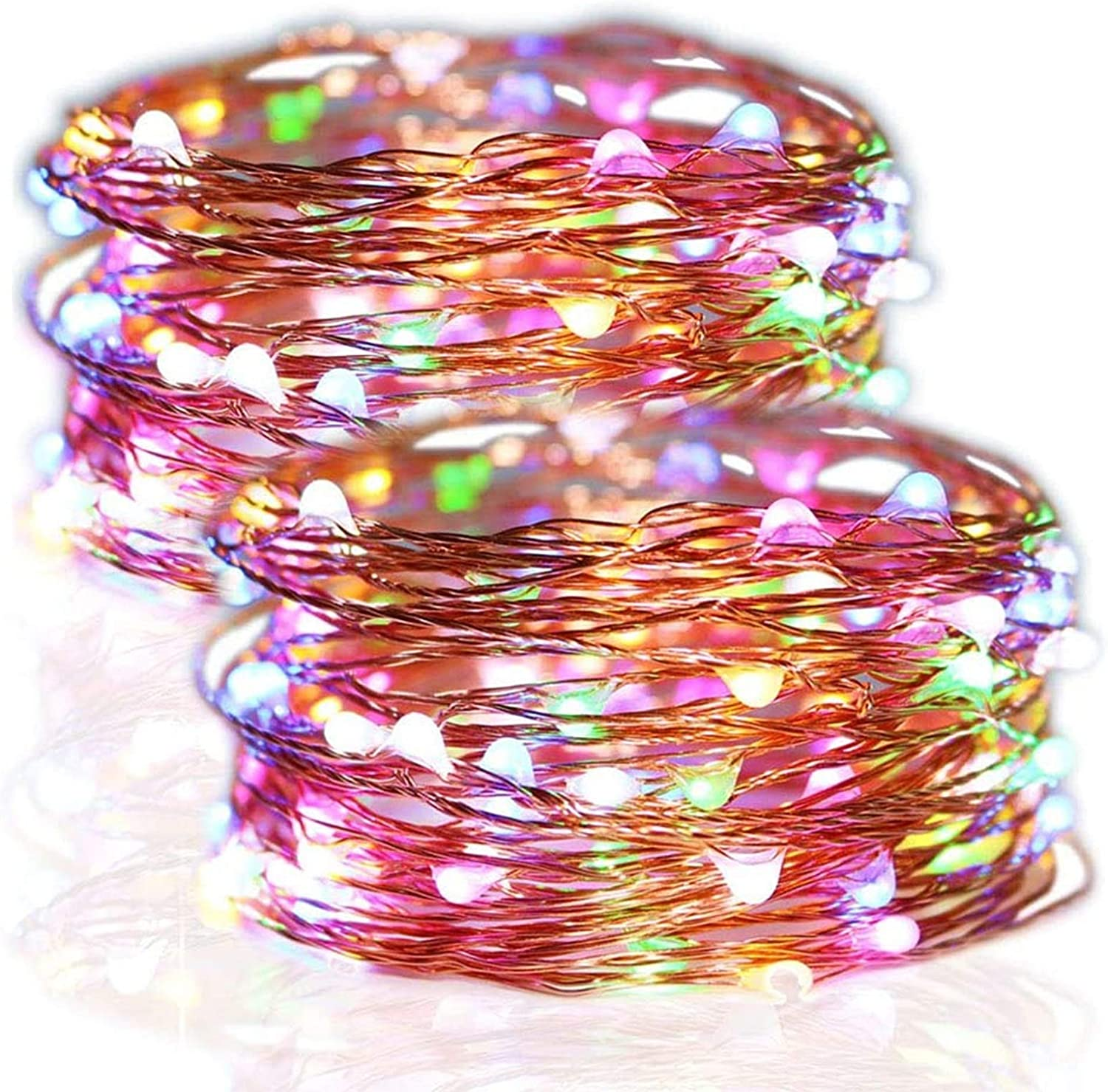 Twinkle Star 100 LED Copper Wire String Lights, 33ft Battery Operated Indoor Fairy String Lights, Holiday Decorative Wreath Christmas Tree Wedding Party Decoration (2 Pack, Multicolor)