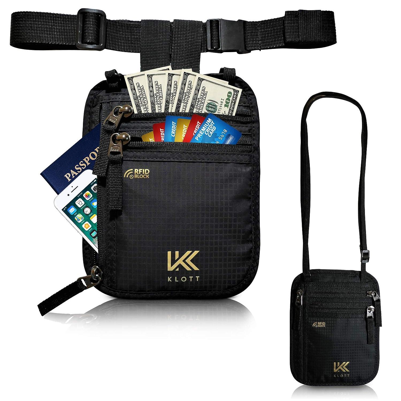 Klott 2way RFID Blocking Travel Wallet. Money Belt, Neck Pouch, Passport Holder in 1 - Grey