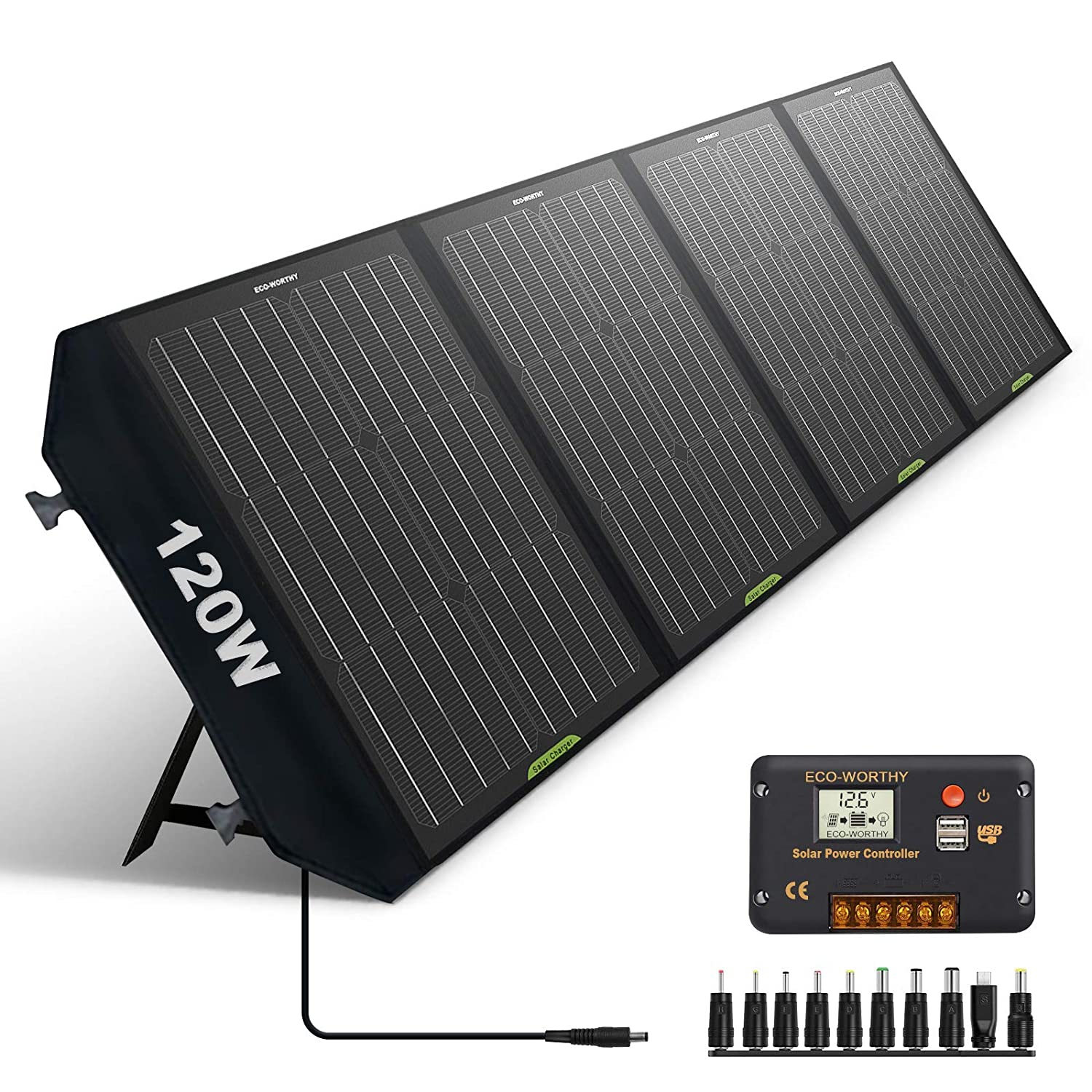 ECO-WORTHY 120W Foldable Solar Panel Charger