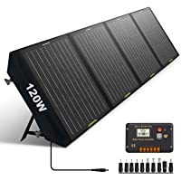 ECO-WORTHY 120 Watts Foldable Solar Panel Battery Charger Kit with 20A Charge Controller for Power Station, Phone…