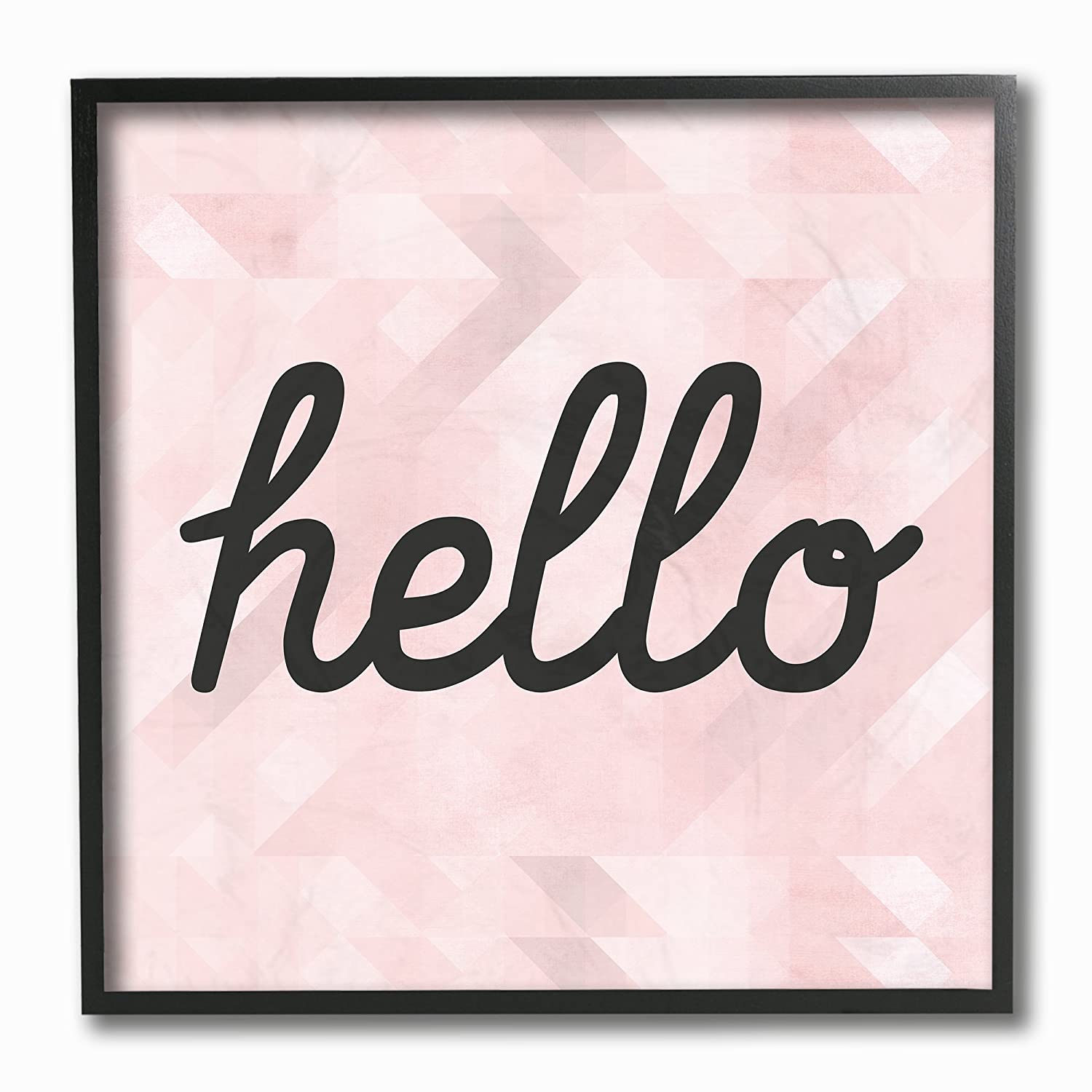 Stupell Industries Hello Pink Geometric Typography Wall Plaque Art Proudly Made in USA 12 x 0.5 x 12