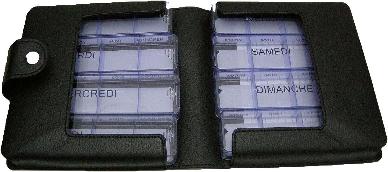 Pastillero semanal Medimax – sintética, negro, francés, grande en estuche, 7 + 1 Días Babá, 28 + 4 compartimentos. Gran capacidad para medicamentos muchos o) impermeables. Etui sólido, rígida, material sintético semi-mate.: