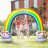 iBaseToy Rainbow Sprinkler for Kids - 7.3 x 6.1 Ft Inflatable Water Sprinklers Toys for Summer Outdoor Backyard Yard Lawn - F