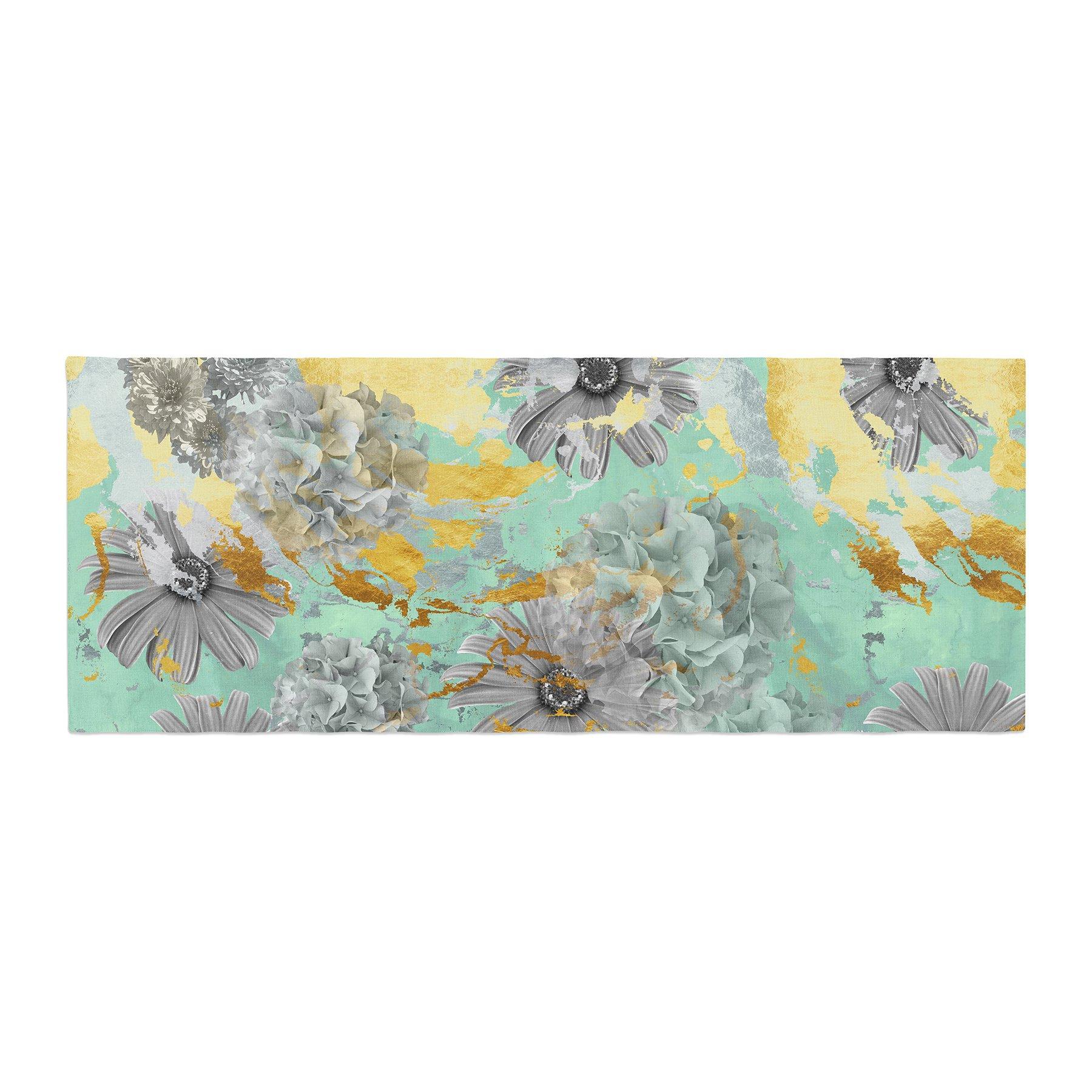 Kess InHouse Zara Martina Mansen Mint Gold Garden Green Gray Bed Runner, 34'' x 86''