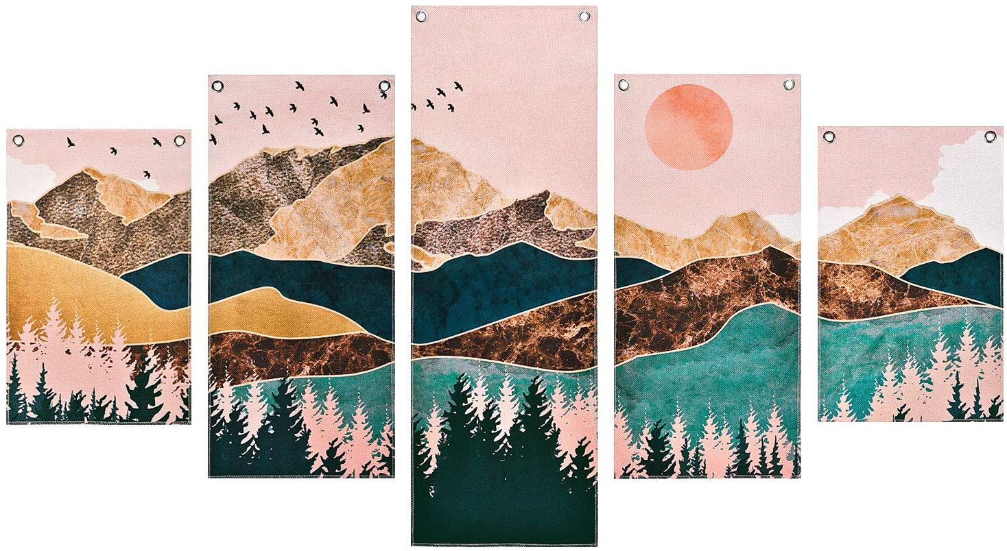 Mountain Painting Prints Wall Art, 5 Piece Frameless Nature Landscape Tree Picture Art Print, Sunset Forest Painting Prints with 10 Nails, for Bedroom, Hall, Living Room