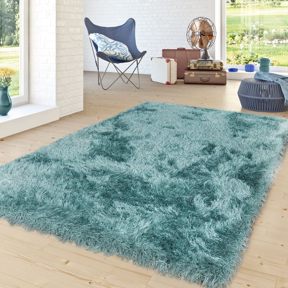 Paco Home Shag Rug High Pile in Turquoise Bedroom Living Room Fluffy Glossy Pastel Yarn, Size 5 3 x 7 7