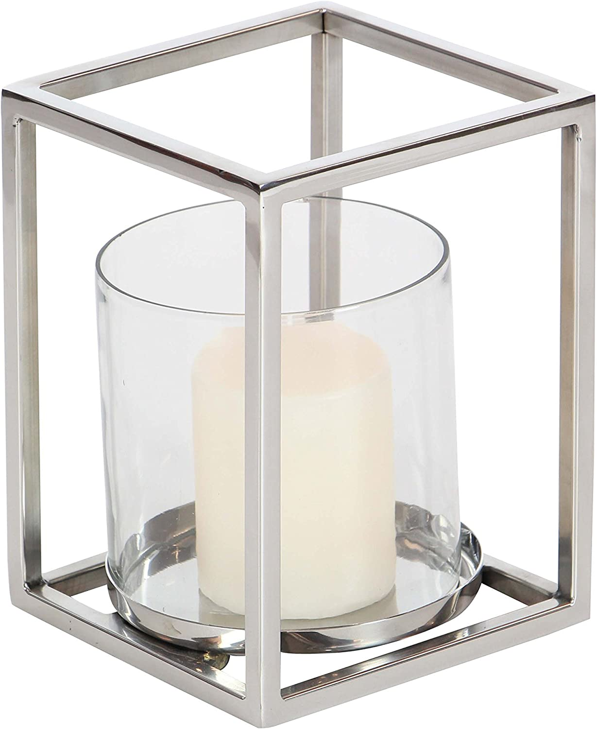 MODERN SILVER BRUSHED ALUMINUM CANDLE HOLDER CLEAR GLASS GLOBES CONCRETE BASE