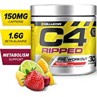 C4 Ripped Pre Workout Powder Fruit Punch | Creatine Free + Sugar Free Preworkout Energy Supplement for Men & Women | 150mg Caffeine + Beta Alanine + Weight Loss | 30 Servings