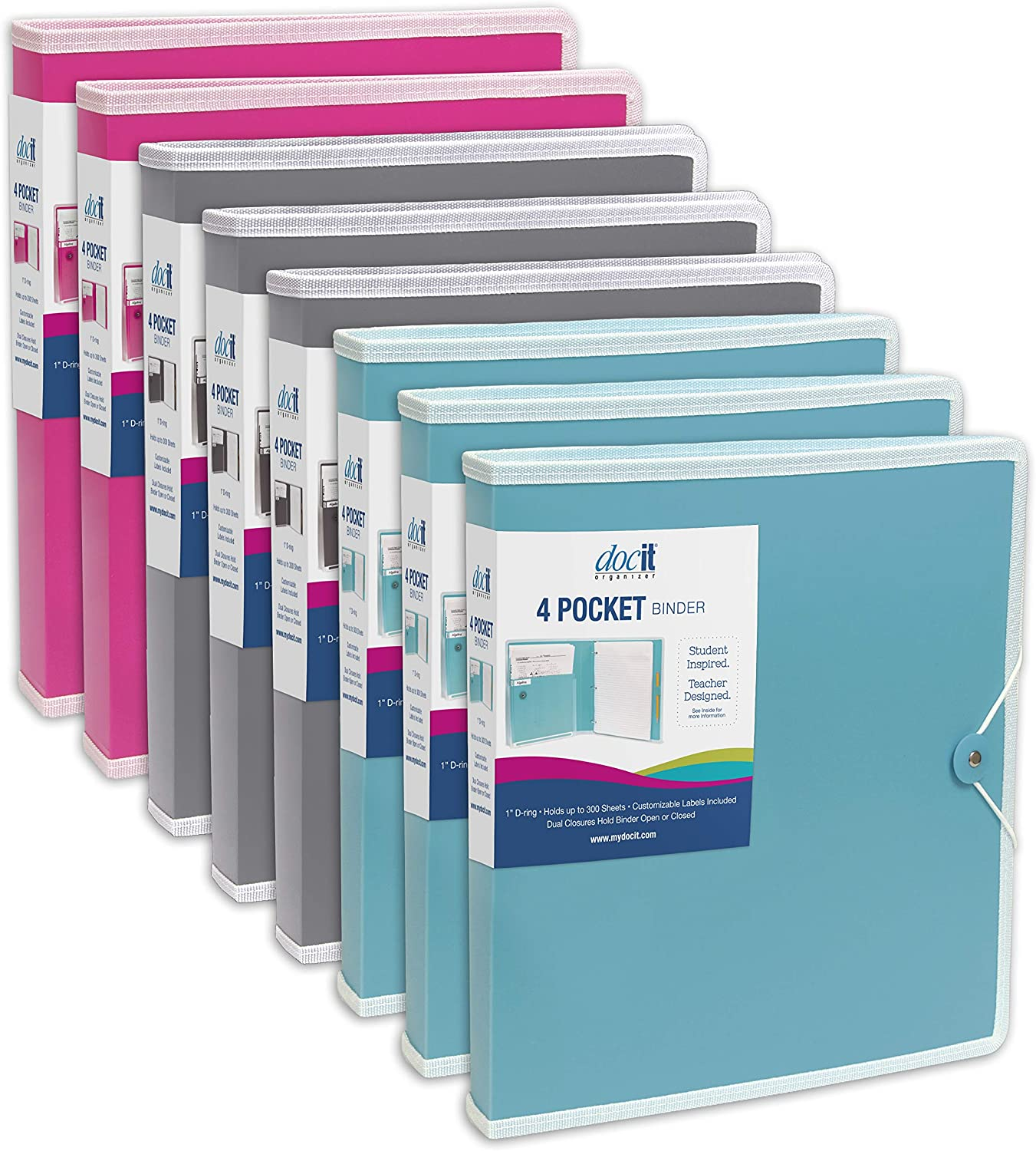 """Docit 4 Pocket Binder 1/"""" D Ring New customazible labels included"""