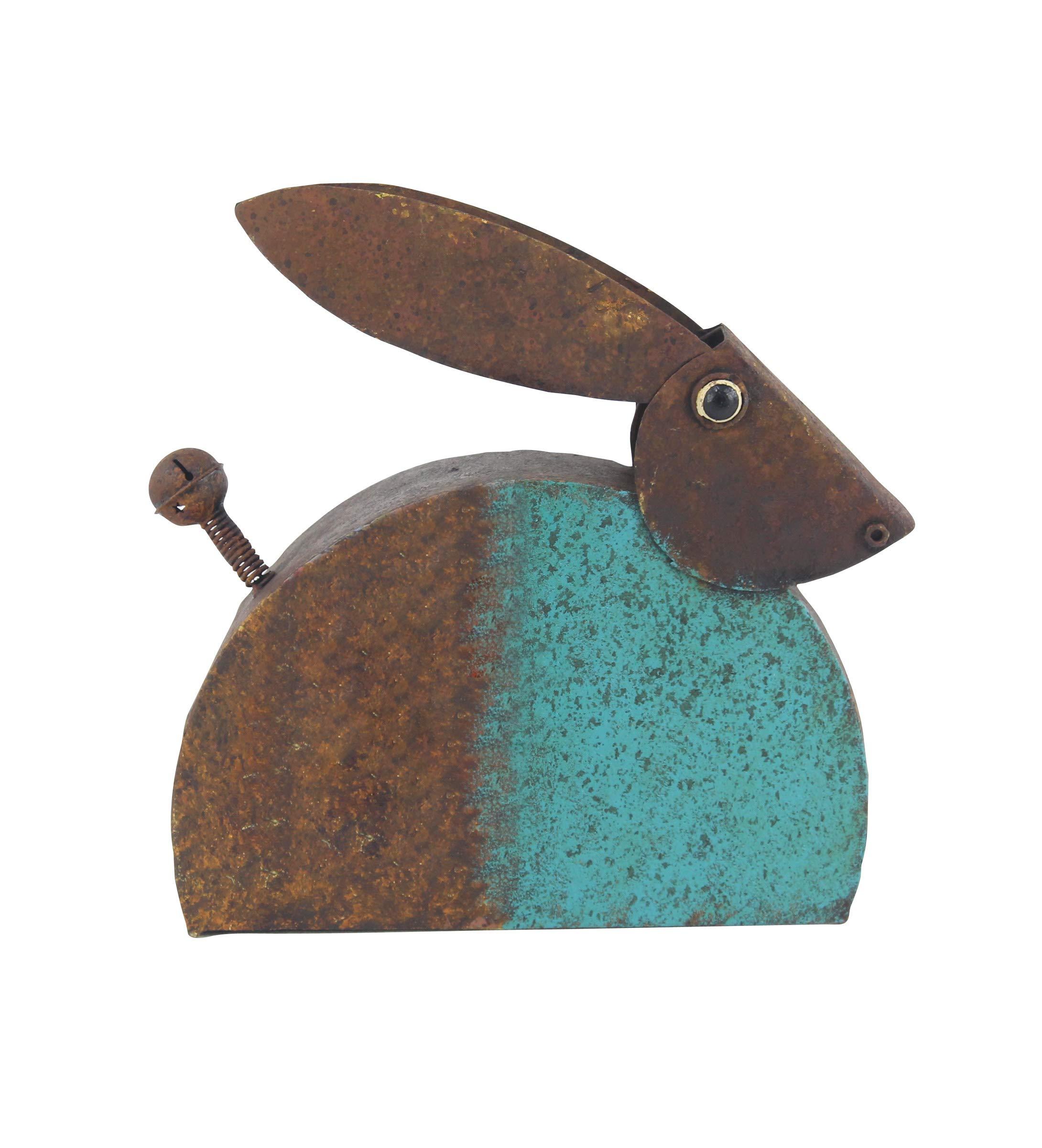 Deco 79 94829 Eclectic Metal Rabbit Sculpture, 14'' W x 13'' H, Brown, Teal