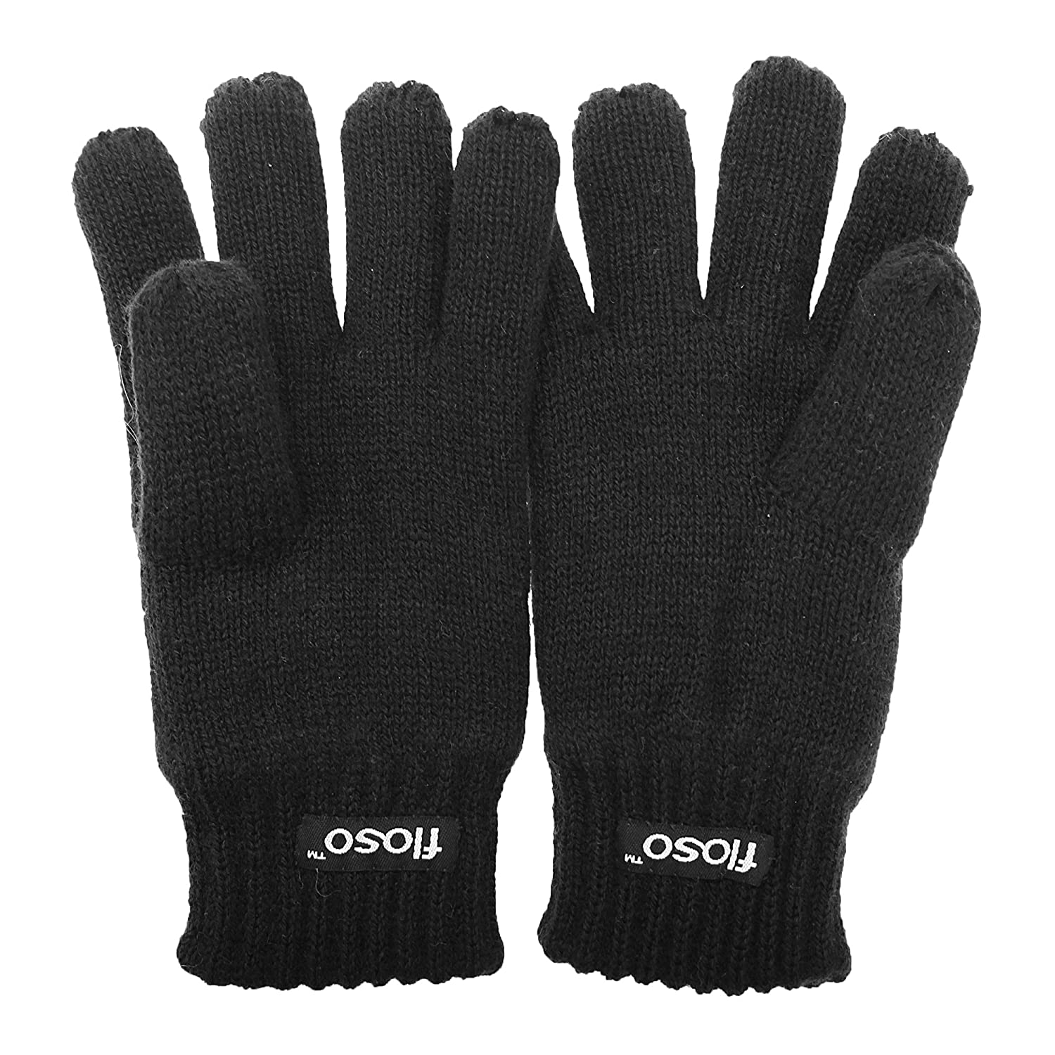 FLOSO Childrens Unisex Knitted Thermal Thinsulate Gloves (3M 40g) (6-7 Years) (Black) UTGL236_1