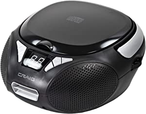 Craig CD6925 Portable Top-Loading Stereo CD Boombox with AM/FM Stereo Radio in Black | LED Display | Programmable CD Player | CD-R/CD-W Compatible | AUX Port Supported |