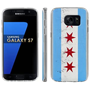 Samsung Galaxy [S7] Phone Case [ArmorXtreme] [Clear] Designer Image [Flexi Gel TPU] - [Chicago Flag] for Samsung Galaxy S7 / GS7