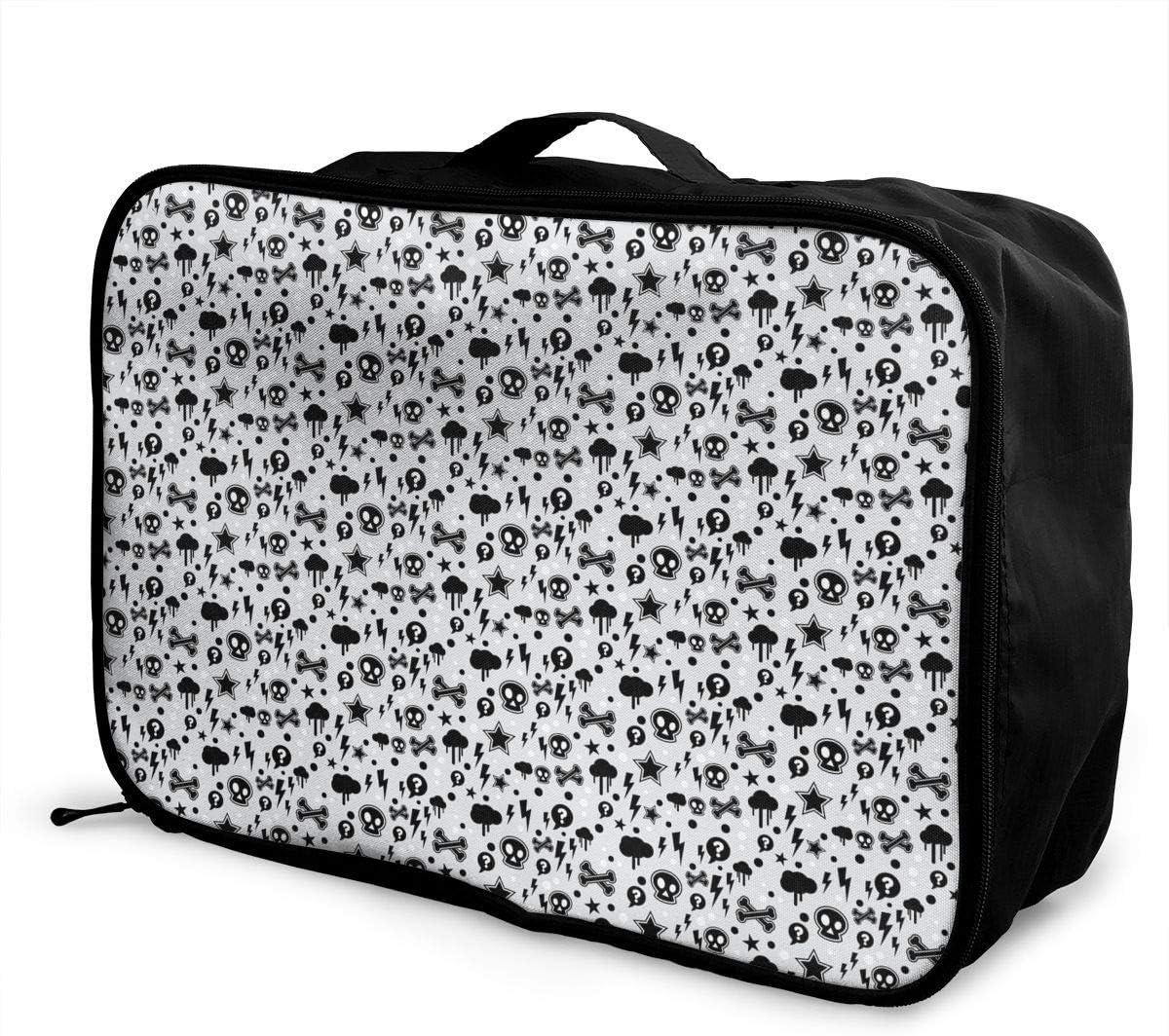 Skulls Travel Carry-on Luggage Weekender Bag Overnight Tote Flight Duffel In Trolley Handle