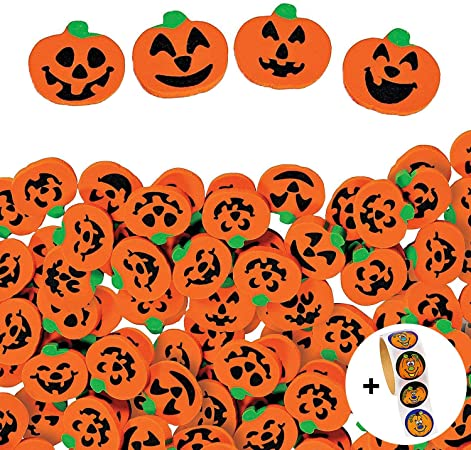 720 Pcs Halloween Pumpkin Erasers Bulk Jack-O'-Lantern Mini Eraser Assortment, By 4E's Novelty