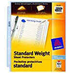 "Avery Standard Weight Sheet Protectors, Clear, Fits Letter Size -8.5"" x 11"", 100 Sheets (75535)"